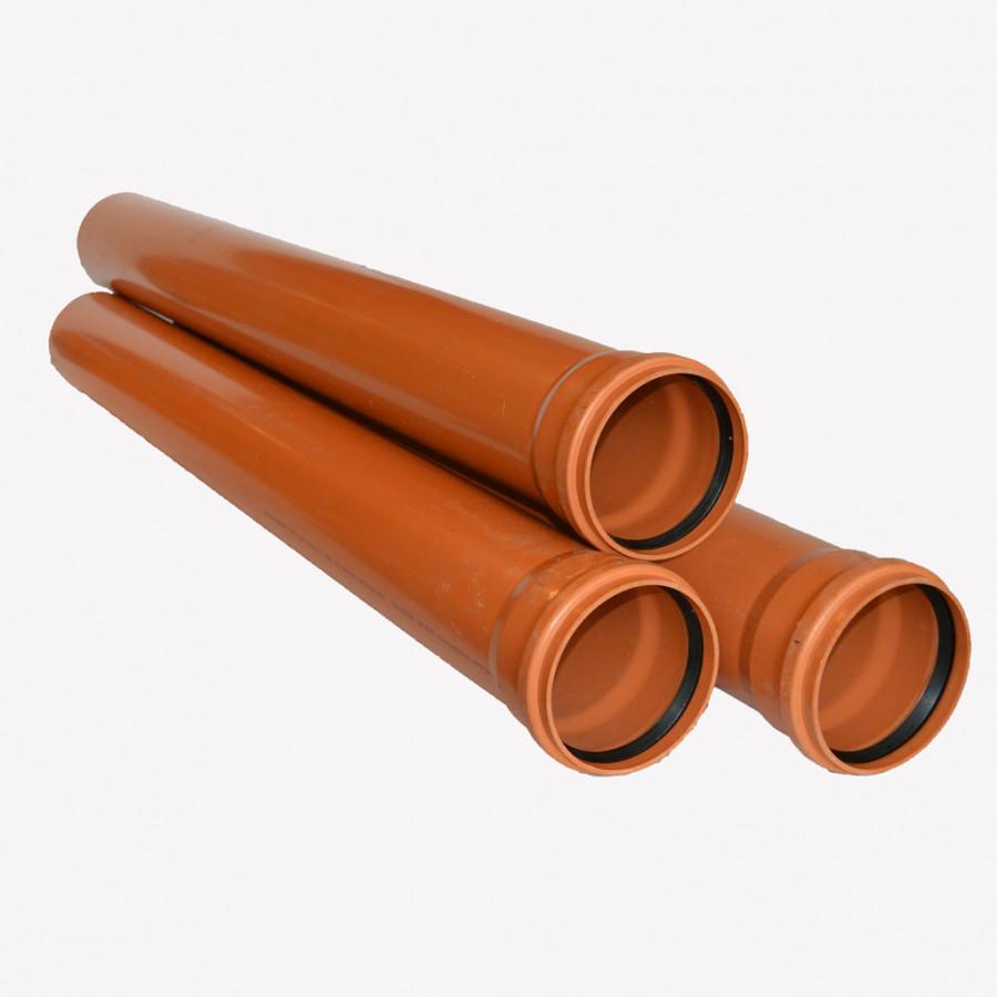 Канализационная труба ПВХ наружная, диаметр 110 мм, длина — 1000 мм